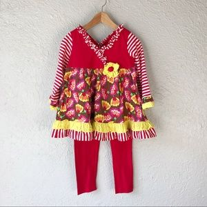 Emily Rose 2 Piece Red Floral Outfit 3T